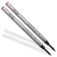 Levenger 2 recharges pour stylo roller en céramique de sécurité 6 mm rouge-RD PR1590 F (Fine)