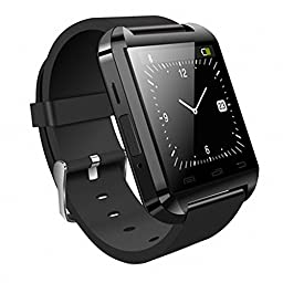 HopCentury Bluetooth Smart Watch for iPhone and Android Cellphones - Pedometer Stopwatch Answer Calls Take Photos and More - Partial Functions with iPhone Device Black