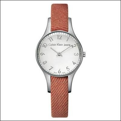 Calvin Klein K4313138 - Reloj analógico de cuarzo para mujer con correa de tela, color rojo