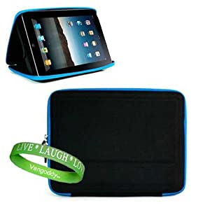 Apple Ipad ( 3G , wifi , WiFi + 3G ) Snug Carrying Case Hard Cube Case Cover, Designed to double as iPad Stand For ultimate viewing convenience ** Black with Blue Trim ** + Vangoddy Live * Laugh * Love Wrist band
