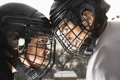 """Wallmonkeys Peel and Stick Wall Decals - Two Ice Hockey Players in Uniform Facing Off. - 36""""W x 24""""H Removable Graphic"""