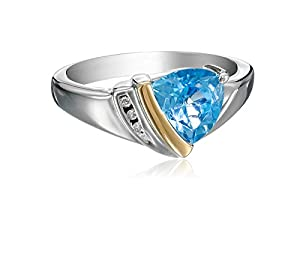 Sterling Silver, 14k Yellow Gold, Diamond, and Swiss Blue Topaz Ring (1/10 cttw, I-J Color, I3 Clarity), Size 5
