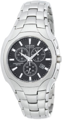 Citizen Men's Eco-Drive Chronograph Stainless Steel Black Dial Watch #AT0880-50E
