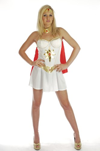 80's Super Hero Girl - Adult Fancy Dress Costume - L