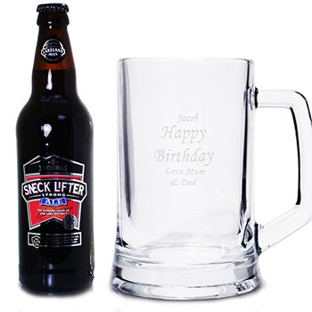 Personalised Engraved Stern Tankard and Traditional Ale Gift Set -Fathers Day, Birthday