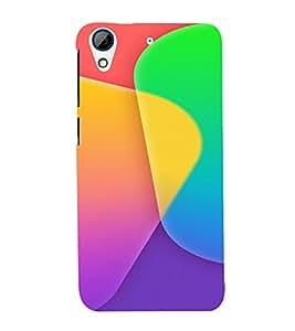 PrintVisa Color Block Pattern 3D Hard Polycarbonate Designer Back Case Cover for HTC Desire 626