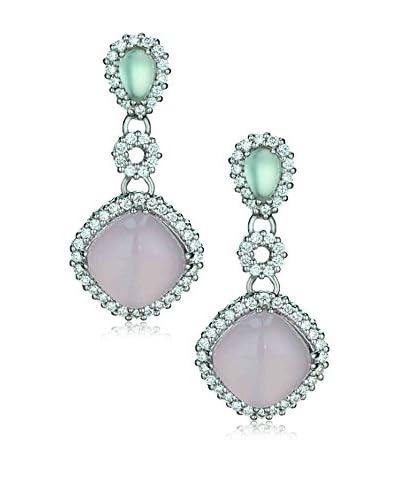 Jenny Perl Diamonds, Green Amethyst & Rose Quartz Cabochon Earrings