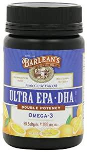Barlean's Organic Oils Fresh Catch Fish Oil,  ULTRA  EPA-DHA, Orange Flavor 1000 mg, 60  Softgels