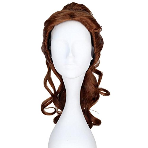 Xcoser Princess Belle Long Curly Brown Synthetic Anime Costume Wig Adult