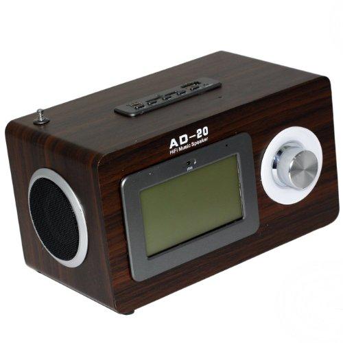 Stylisches Radio im Retro-Holz-Design - Multimedia Radio mit USB Anschluss, SD Speicherkarten Slot, AUX Eingang - In Braun