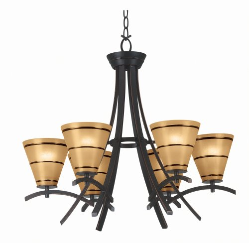B000PRNMC6 Kenroy Home 90086ORB Wright 6-Light Oil-Rubbed Bronze Chandelier with Scavo-Glass Shades