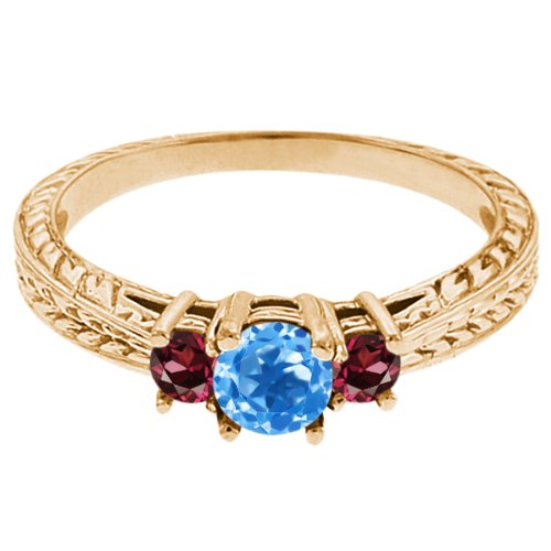 0.57 Ct Round Swiss Blue Topaz Red Rhodolite Garnet 18K Yellow Gold 3-Stone Ring