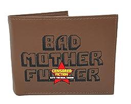 BMF Wallet Men\'s Original Bi-fold Embroidered Brown Genuine Leather