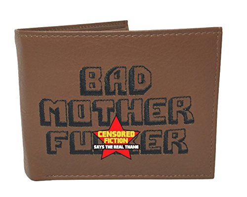 BMF Wallet Men's Original Bi-fold Embroidered Brown Premium Nappa Leather
