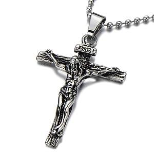 pendentif j sus christ croix crucifix pendentif collier homme en acier inoxydable argent noir. Black Bedroom Furniture Sets. Home Design Ideas