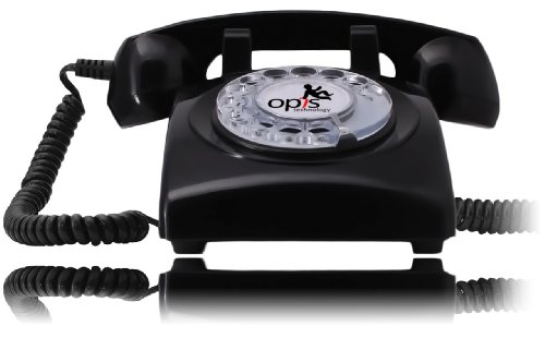 Opis 60S Cable: Designer Retro Phone / Rotary Dial Telephone / Retro Style Phone / Vintage Telephone / Classic Desk Phone With Rotary Dialler (Black)