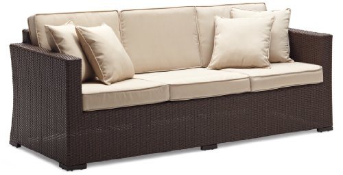 Strathwood Griffen All-Weather Wicker 3-Seater Sofa, Dark Brown