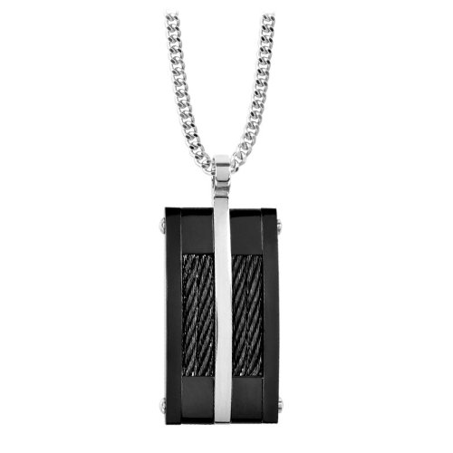 Men's Pendant In Polished Black PVD with Multiple Black Inlayed PVD Cables and a Single Steel Tone Stripe (Pendant Only)