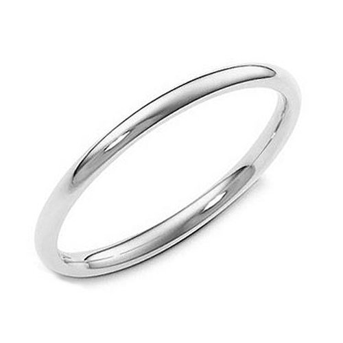 Sterling Silver 2MM High Polish Plain Dome Tarnish Resistant Comfort Fit Wedding Band Ring Sz 5