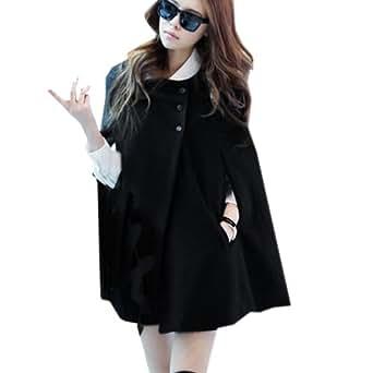 Finejo Women's Winter Casual Cloak Coat Cape Poncho Warm Jacket Black