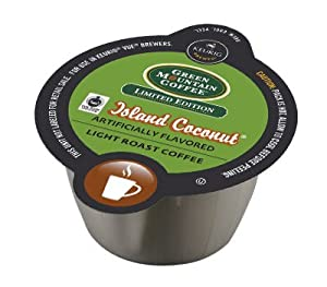 VUE! Green Mountain Island Coconut Light Roast Coffee Vue Cups For Keurig Vue Brewers !