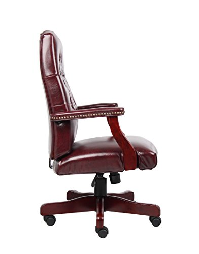 Boss Office Products B905-BY Classic Executive Caressoft Chair with Mahogany Finish in Burgundy 4