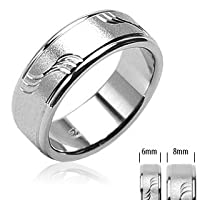 316L Surgical Stainless Steel Rings/Brushed /Dia cut Waves - Size:11
