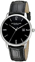 Stuhrling Original Men's 997L.02 Ascot Stainless Steel Date Watch With Black Leather Band