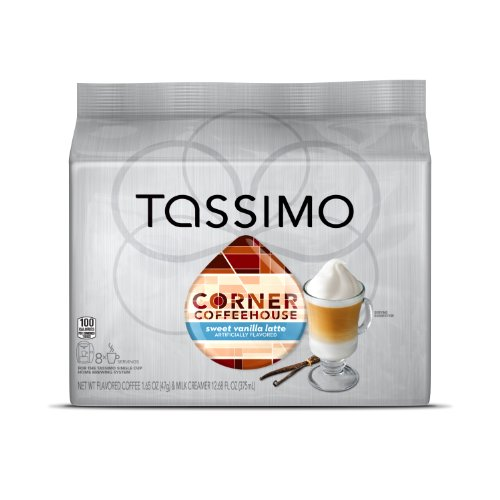 Corner Coffeehouse Sweet Vanilla Latte T DISC, 16-Count (8 Servings) for the TASSIMO Single Cup Brewer (Tassimo Vanilla Coffee compare prices)