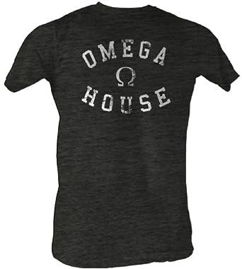 Animal House T-Shirt - Omega House Adult Charcoal Heather Tee Shirt, Large