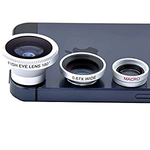 VicTsing Magnetic Detachable Fish-Eye Lens Wide Angle Micro Lens 3-in-1 Kits Sliver for iphone 5 5C 5S 4S 4 3GS ipad mini ipad 4 3 2 Samsung Galaxy S4 S3 S2 Note 3 2 1 Sony Xperia L36h L36i HTC ONE Smartphones with flat camera