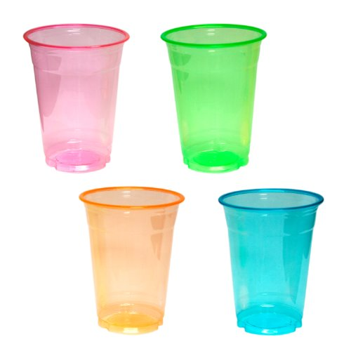 Check Out This Northwest Enterprises Soft Plastic 16-Ounce Party Cups and Tumblers, Assorted Neon, 4...