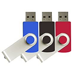 mosDART(TM) 16GB 3 pack USB 2.0 Flash Drive Bulk Swivel Thumb Drives,(Black/Blue/Red,3pcs)