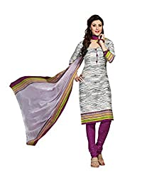 Drapes Women's WhiteCotton printed Dress Material (Unstitched) (DF1342, White)
