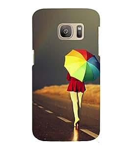Printvisa Girl Walking With A Multicoloured Umbrella Back Case Cover for Samsung Galaxy S7 edge::Samsung Galaxy S7 edge Duos with dual