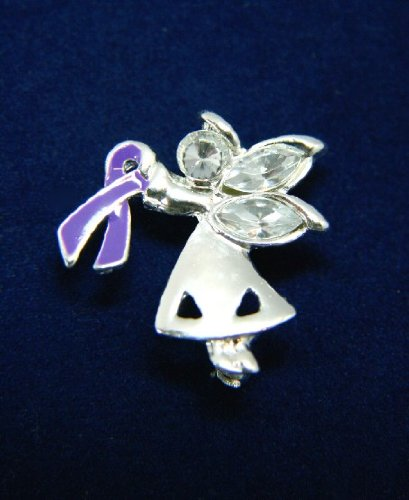 Purple Ribbon Pin-Angel By My Side (27 Pins)