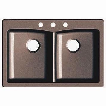 Dual Mount Granite Composite 33 In. 3-hole Double Bowl Kitchen Sink in Espresso