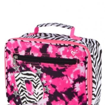 Justice for Girls Zebra Print & Tye Dye Lunch Tote - Initial D - 1