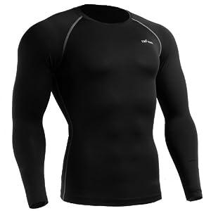 emFraa Homme Femme Sport Compression Black Base layer Shirt Long sleeve XS