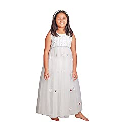 Sparkling Threads white color gown style dress for kids
