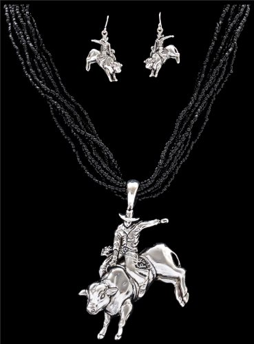 Western Necklace Black Multi-Beaded with Bucking Bull Rider Pendant and Earrings