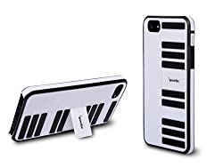 Poetic Keys Case with Build-in KickStand (Piano Keys Design) for Apple iPhone 5 5th Generation 5G (AT&T T-Mobile Sprint Verizon) Black/White