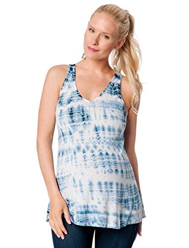 A Pea in the Pod V-neck A-line Maternity Tank Top, Small, Indigo Tie Dye