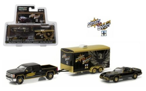 NEW 1:64 GREENLIGHT HOLLYWOOD HITCH & TOW SERIES 1 COLLECTION - BLACK SMOKEY AND THE BANDIT 1980 PONTIAC TRANS AM, 2015 CHEVROLET SILVERADO & ENCLOSED CAR HAULER Truck Diecast Model Car By Greenlight (1 64 Enclosed Trailer compare prices)