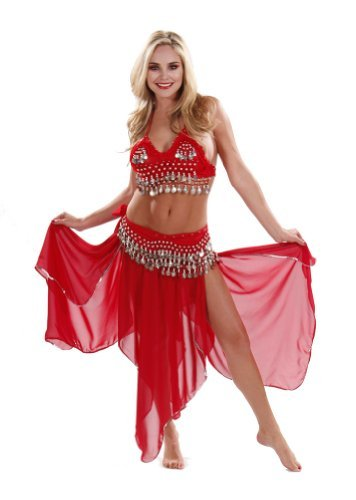 Miss Belly Dance Belly Dancer Costume Set | Chiffon Skirt-Top & Hip Scarf | Passionate Persuasion (Small/Medium, Red/Gold)