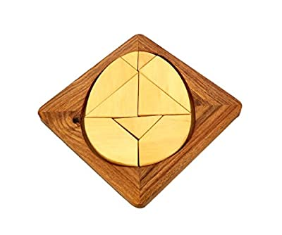 Handmade Wood Egg Tangram Puzzle With 9 Pieces - Puzzles and Games for Kids - 6""