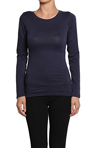 Themogan Women'S Round Neck Long Sleeve Solid T-Shirts - Navy - Large front-225848