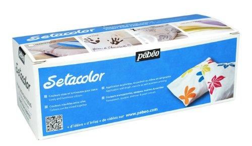 Pebeo Setacolor Shimmer Fabric Paint Set, Cardboard Box Of 10 Assorted 45-Milliliter Jars front-136241