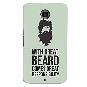 ColourCrust Motorola Google Nexus 6 Mobile Phone Back Cover With Beard Quote Quirky - Durable Matte Finish Hard Plastic Slim Case
