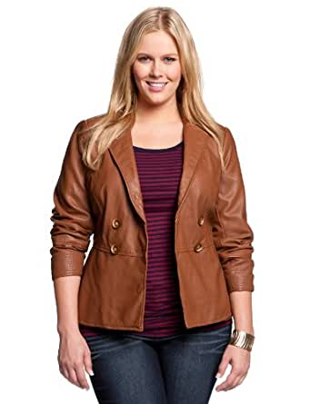 eloquii Peplum Faux Leather Jacket Women's Plus Size